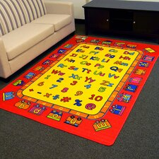 Paradise Alphabets Train Red Outdoor Area Rug