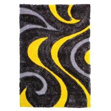 3D Shaggy Abstract Wavy Swirl Yellow/Black Area Rug