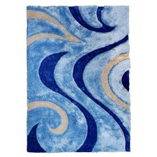 3D Shaggy Abstract Wavy Swirl Blue Area Rug