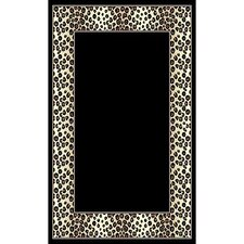 African Adventure Black Leopard Border Area Rug
