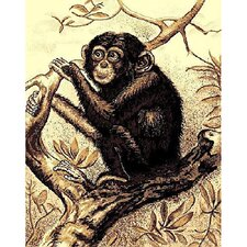 African Adventure Chimpanzee Beige/Black Area Rug