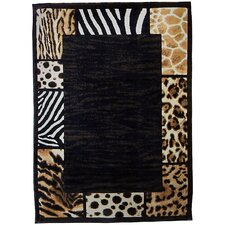 Skinz 73 Mixed Brown/Black Animal Skin Prints Patchwork Border Area Rug