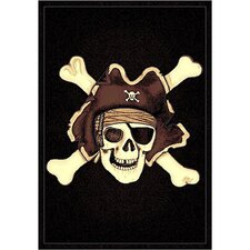 Skinz 77 Mixed Black Skull Pirate Area Rug