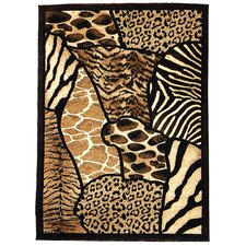 Skinz 70 Mixed Brown Animal Skin Prints Patchwork Area Rug