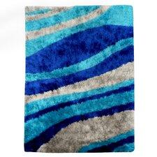 Flash Shaggy Blue Abstract Wave Area Rug