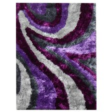 Flash Shaggy Lilac Abstract Wave Area Rug
