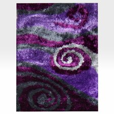 Flash Shaggy Lilac Abstract Swirl Area Rug