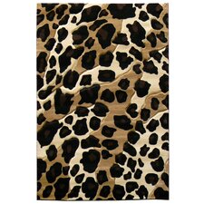 Sculpture Black/Brown Leopard Skin Print Area Rug
