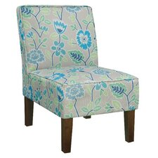 Alexandra Side Chair in Gray & Blue Floral