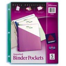 5 Count Assorted Colors Binder Pocket
