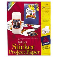 "8.5"" x 11"" Ink Jet Sticker Project Paper 15 Count (Set of 6)"