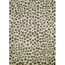Shaggy Leopard Ivory Area Rug