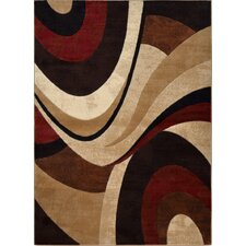 Tribeca Abstract Brown & Red Area Rug