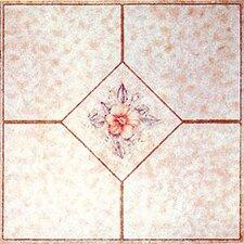 """12"""" x 12"""" Luxury Vinyl Tile in Light Pink Flower"""