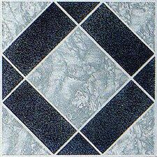 """12"""" x 12"""" 45 Piece Luxury Vinyl Tile in Black / Grey Diamond"""