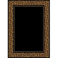 Zone Leopard Border Ebony Area Rug