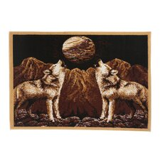Zone Howling Wolves Novelty Brown Area Rug