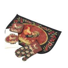 Medley Rooster Kitchen 4 Piece Mat Set