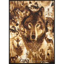 Zone Wolves Novelty Brown Area Rug