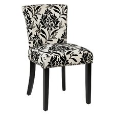 Kendal Floral Side Chair in Black & Cream