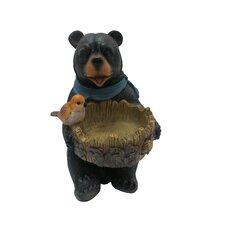 Polyresin Bear Statue with Decorative Bird Feeder