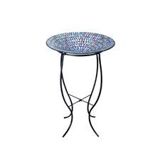 Mosaic Glass Bird Bath with Metal Stand