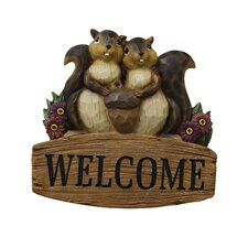 Polyresin Welcome Sign with Squirrel Family Statue