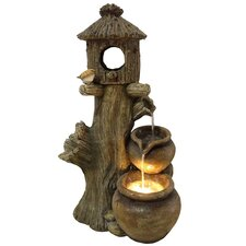 Polyresin and Fiberglass Tiered Pot Fountain with Birdhouse & Light