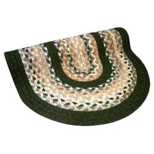 Minuteman Green & Beige Plaid Mix with Olive Green Solids Multi Round Rug