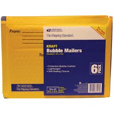"6"" x 9"" Manila Kraft USPS Bubble Mailer (Pack of 6)"