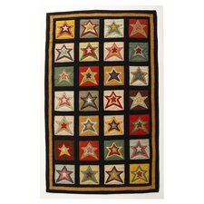 Penny Star Patch Sampler Black/Gold Area Rug