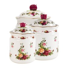 Old Country Roses 3-Piece Canister Set