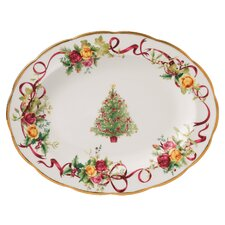 Old Country Roses Holiday Christmas Tree Oval Platter