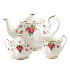 New Country Roses White 3 Piece Teapot Set