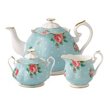 Polka Blue Tea 3 Piece Teapot Set