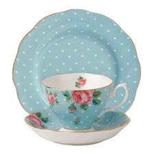 New Country Roses Polka Blue Teacup Set (Set of 3)