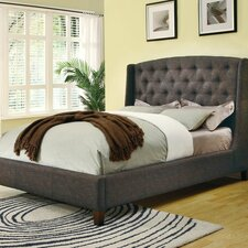 Upholstered Arch Wingback Bed in Deep Brown