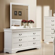 Louis Philip 6 Drawer Dresser with Mirror