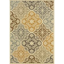 Carter Indoor/Outdoor Floral Ivory & Gray Area Rug