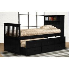 Lola Twin Captain Bed with Bookcase and Storage