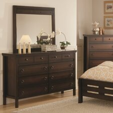 Hudson Valley 8 Drawer Dresser with Mirror
