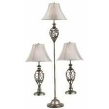 Cerise 3 Piece Table Lamp and Floor Lamp Set with Bell Shade