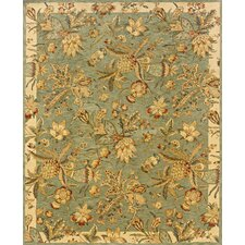 Aragon Hand-Crafted Wool Tropical Blue/Ivory Area Rug