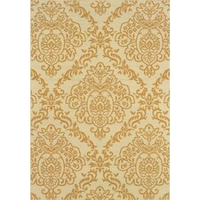 Ivory/Gold Floral Indoor/Outdoor Area Rug