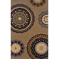 Elana Hand-Crafted Wool Floral Taupe/Blue Area Rug