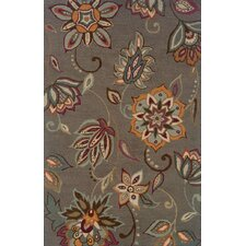 Elana Hand-Crafted Wool Floral Grey/Blue Area Rug