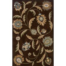 Elana Hand-Crafted Wool Floral Brown/Blue Area Rug