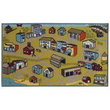Reverie Kid's Town Green/Blue Area Rug