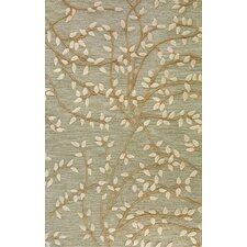 Leaves Light Green Area Rug