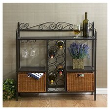 Scrolled Bakers Rack w/ Wine Storage in Gunmetal Gray